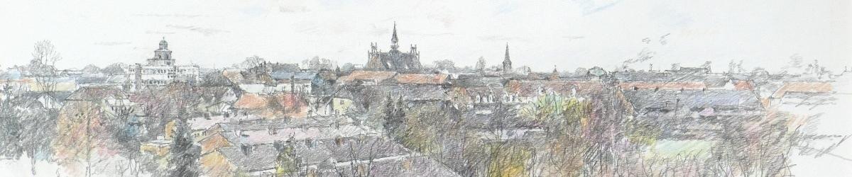 Silhouette Neumünsters mit Vicelinkirche, Rathaus und St. Maria-St. Vicelin, gezeichnet von Uwe Bangert (2000)